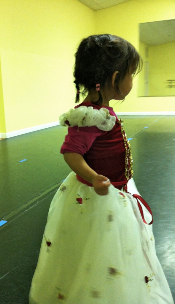 baby at ballet class in costume