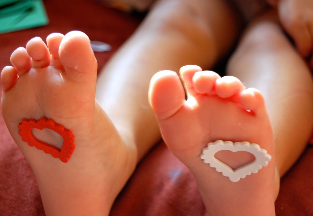 feet with hearts