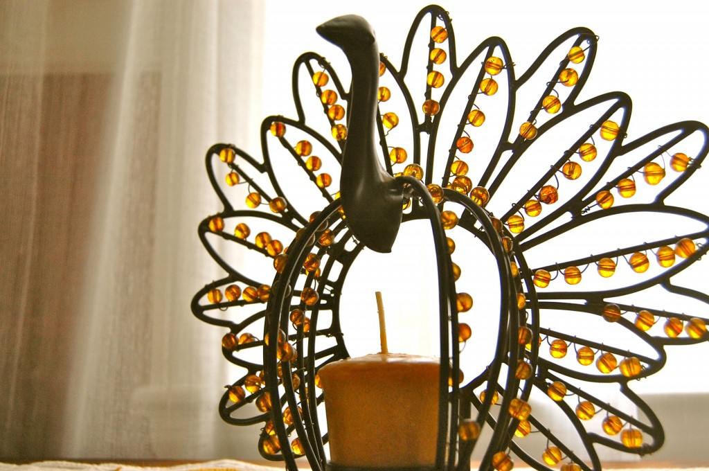 fall decor - turkey candle holder