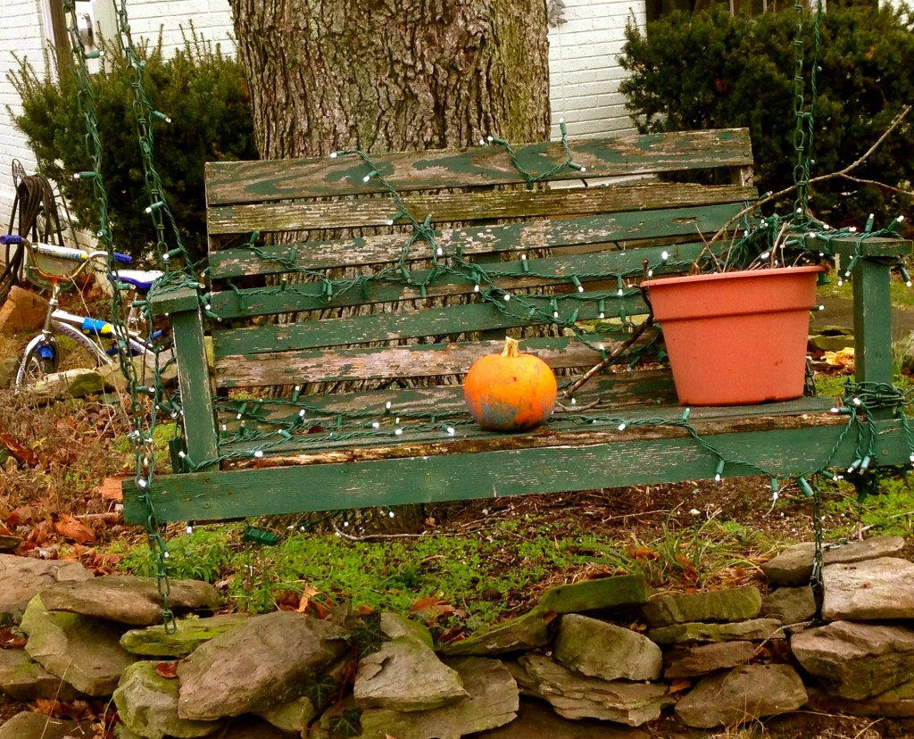 bench and pumpkin