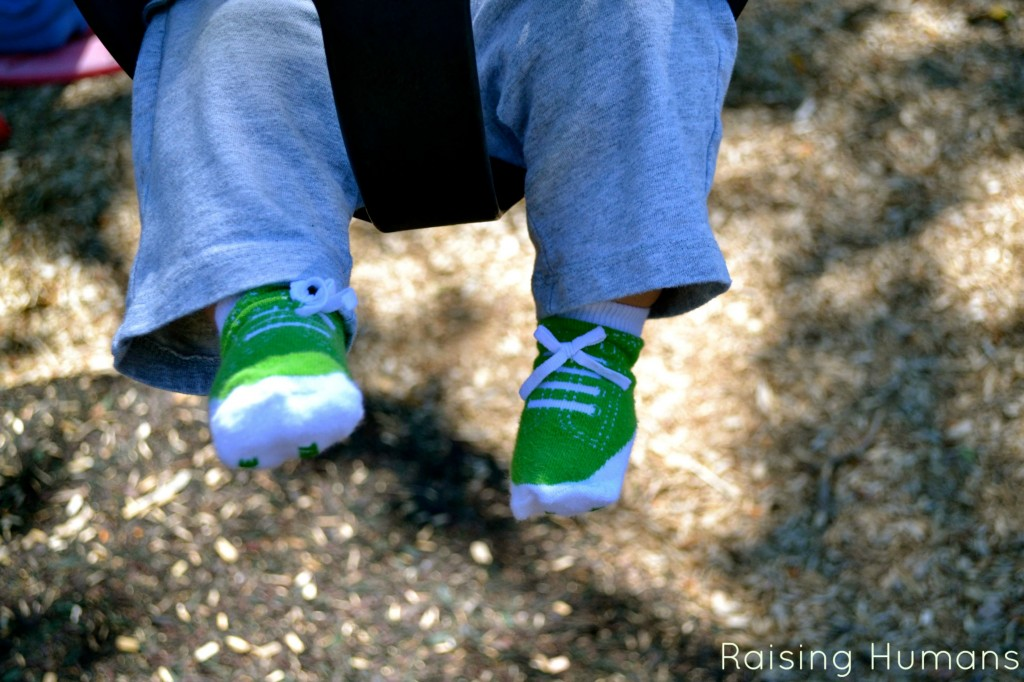 baby feet on swing