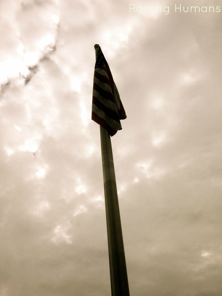 flag on cloudy day