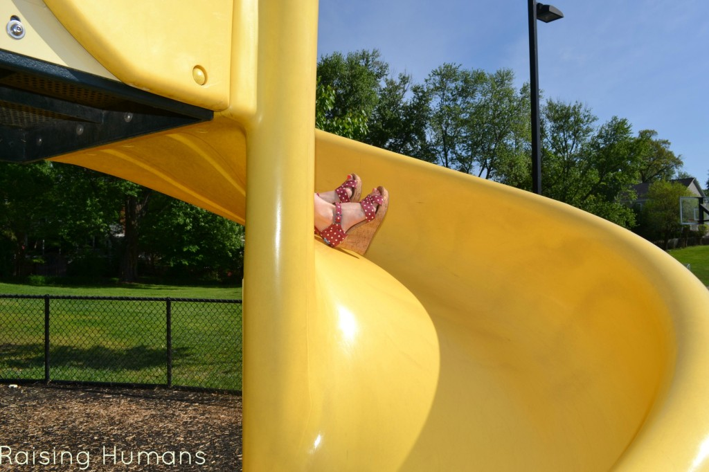 feet on slide
